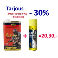 Ilmansuodatin öljy 1l. + ketjurasva spray 500ml.